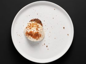 Restaurant Bar.Setka Kazan Lamb Tar-tar with Mushrooms and Scallop Mousse, фото
