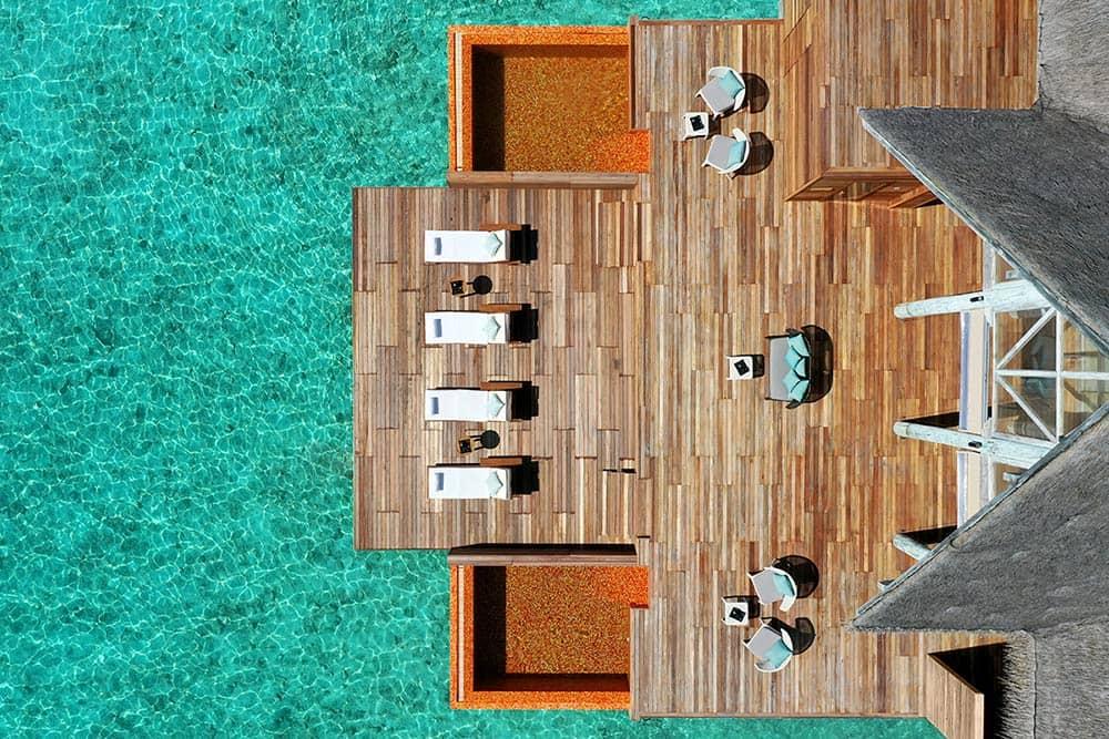 Resort Anantara Kihavah Maldives Villas Spa Relaxation Deck Aerial Shot, фото